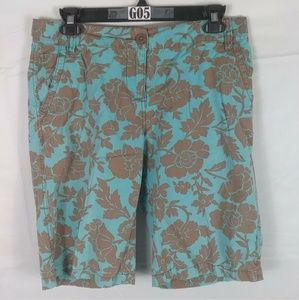 BODEN TEAL BROWN FLORAL BERMUDA SHORTS WOMENS  10